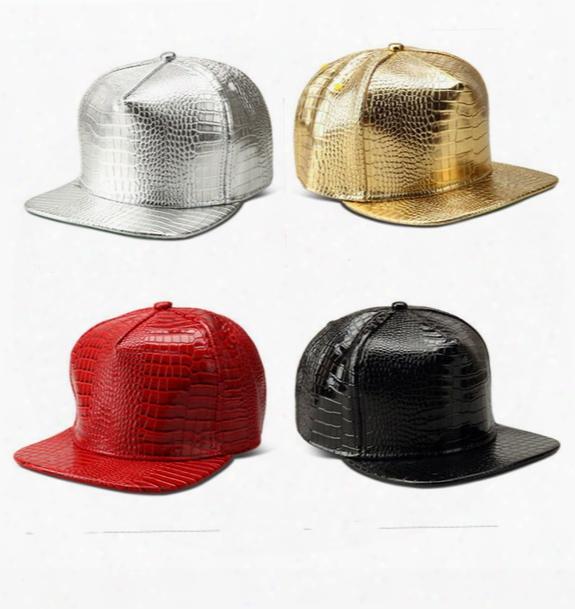 New Arrival Unisex Ball Caps Crocodile Pattern Stripe Baseball Cap Hip-hop Pu Light Cap Free Shipping