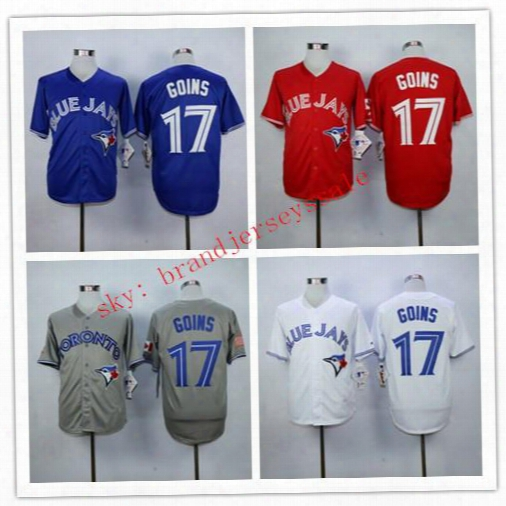 New Design Mens Toronto Blue Jays 17 Ryan Goins Baseball Jerseys Alternat E Throwback 100% Stittched Logo