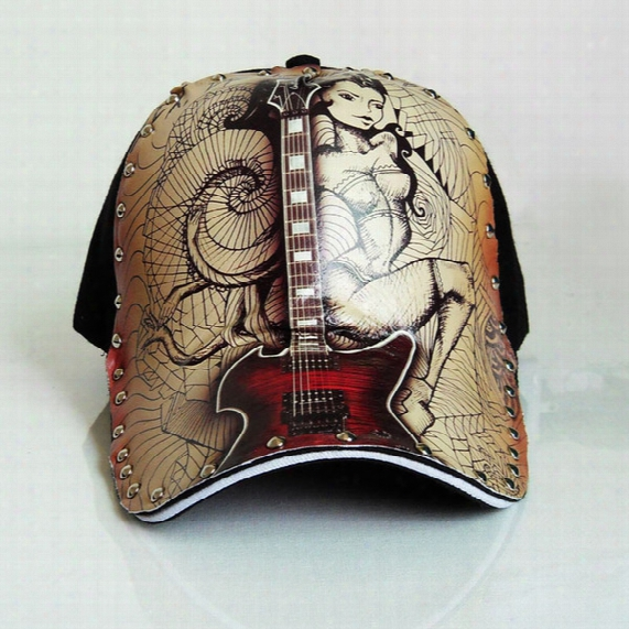 New Fashion Hat Original Hand Paint Personality Baseball Cap Guitar Tattoo Pattern Casual Hat For Women Men Hip-hop Style
