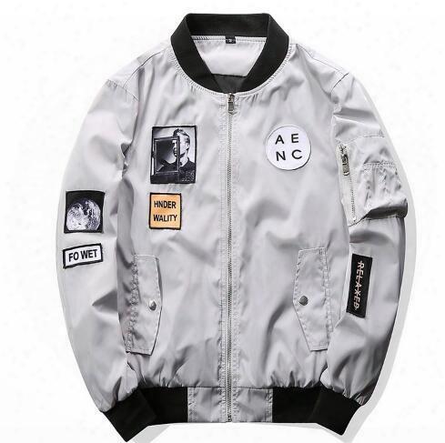 New Men Bomber Jacket Hip Hop Patch Designs Slim Fit Pilot Bomber Jacket Coat Men Jackets Plus Size Xxxxl