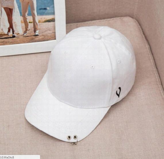 New Solid Casual White Black Baseball Caps For Women Men Unisex Rapper Adjustable Hats Hip Pop Iron Hoops Statement Gorras