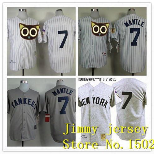 New York Mickey Mantle Jerseys. New York 7 Mickey Mantle Jersey Hemp Grey White Grey Cool Base
