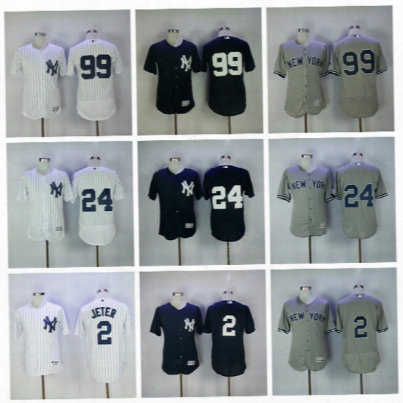 New York Yankees 2017 Baseball Jerseys 2 Derek Jeter 99 Aaron Judge Jersey Sport 24 Gary Sanchez Uniforms All Stitched Navy Blue White Gray