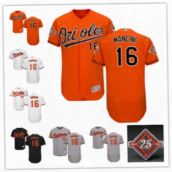 Newest-mens Baltimore Orioles Trey Mancini Flex Base Jerseys Stitdhed #16 Trey Mancini Baltimore Orioles 25th Commemorative Patch Jersey