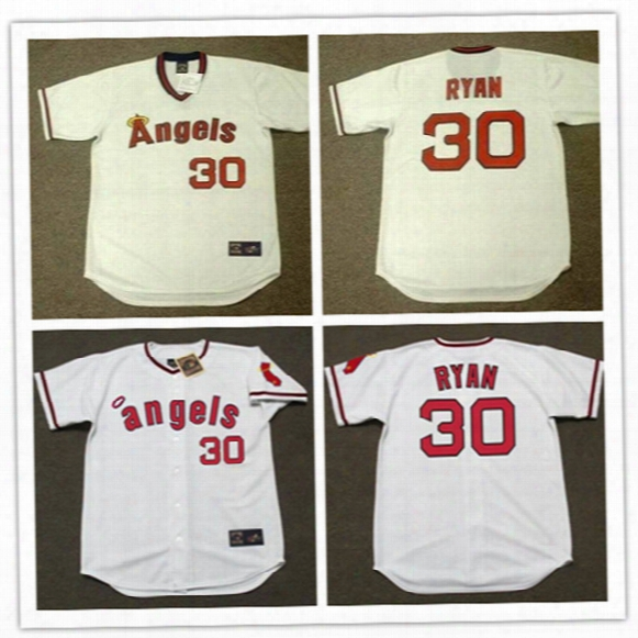 Newest-mens Los Angeles Angels Of Anaheim Nolan Ryan Throwback Cooperstown Jerseys #30 Nolan Ryan California Angels 1973 Baseball Jersey