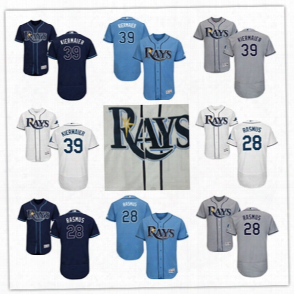 Newest-mens Navy White Tampa Bay Rays Kevin Kiermaier Flex Base Jerseys Stiched #28 Colby Rasmus Tampa Bay Rays Cool Base Baseball Jerseys