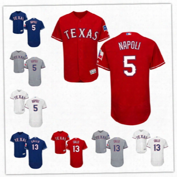 Newest-mens Texas Rangers Joey Gallo Play Ball Patches Flex Base Jerseys Stitched #5 Mike Napoli Texas Rangers Baseball Jerseys