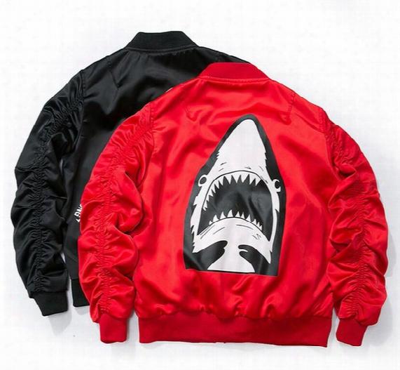 Newest Off White Sharks Air Force Flight Jacket Ma1 Baseball Jacket Bap Lovers Clothing Yeeus Print Jacket Military Style