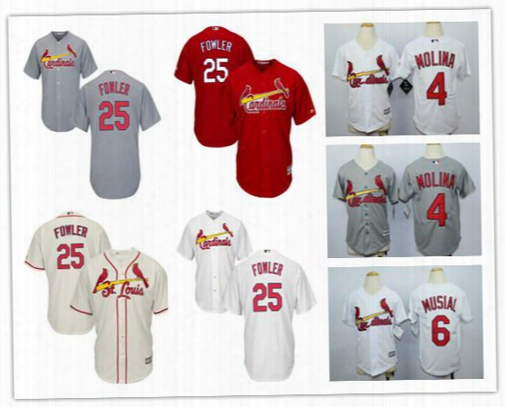 Nwt St Louis Cardinals Kids Jerseys 25 Dexter Fowler 4 Yadier Molina 6 Stan Musial Youth Mlb Baseball Jerseys Stitched Size S-xl