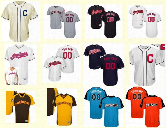 Outlet Men Ladies Youth Cleveland Indians 2017 Personalized Mother All Star Cool Flex Baseball Jerseys Brown Yellow Blue Navy Orange Cream