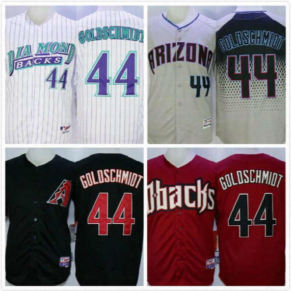 Paul Goldschmidt Jersey 44 Mens Diamondbacks Baseball Jersey Throwback Full Stitched Embroidery Logo Black White Grey Size S-3xl Free Ship