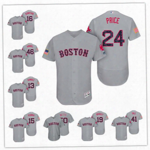 Personalize Cool Flex Base Boston Red Sox Custom Men Women Youth 2017 Independence Day Stars & Stripes Jersey 34 David Ortiz 50 Mookie Betts