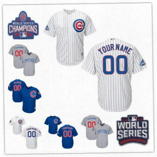 Personalized Cool Base Chicago Cubs Mens Womens Youth Kid Custom Baseball Jerseys White Gray Royal Blue 2016 World Series Champions S,4xl