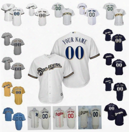 Personalized Cool Base Milwaukee Brewers Custom Mens Womens Youth Baseball Jerseys Cream Throwback White Gray Gold Navy Light Blue Pullover