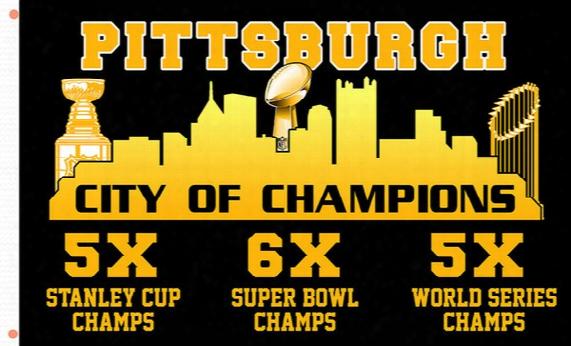 Pittsburgh City Of Champions New Banner Flag Usa Hockey College Baseball Football Flag 3x5 Custom Any Flag
