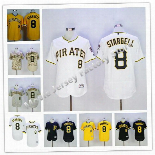 Pittsburgh Pirates Flexbase #8 Willie Stargell Jersey Cream Yellow 1979 Throwback Black White Pullover Baseball Jersey