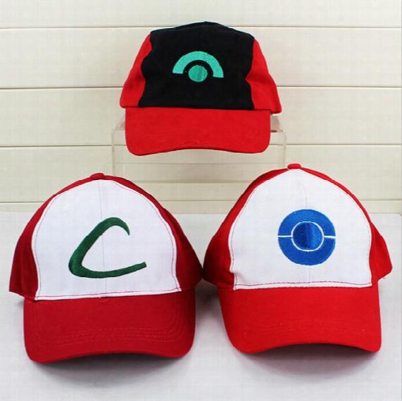 Poke Hat Ash Costume Cosplay Cap Hat Poke As Hbaseball Hats 3pcs/set High Quality Free Shipping