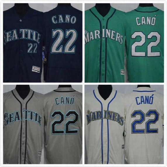 Robinson Cano Jersey 22 Mens Mariners Baseball Jersey Throwback Full Stitched Embroidery Logo Green Blue White Size S-3xl Free Shipping