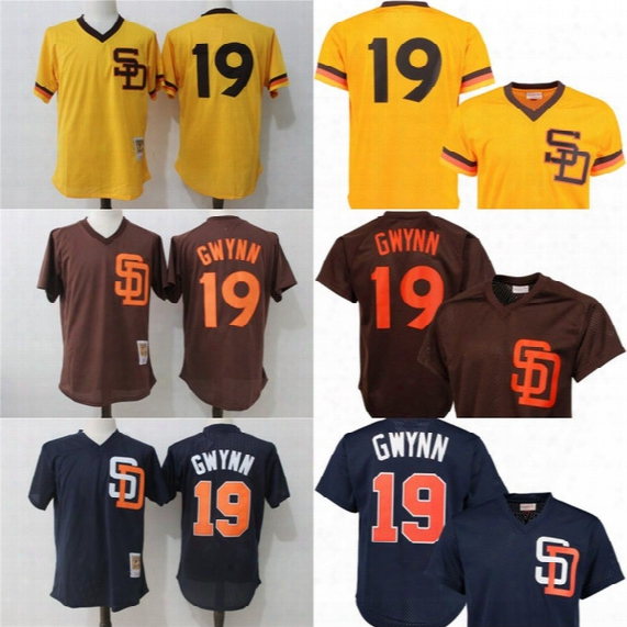 San Diego Padres Jersey Mens 19 Tony Gwynn 1982 1985 Authentic Cooperstown Collection Throwback Baseball Jerseys Cheap Wholesale