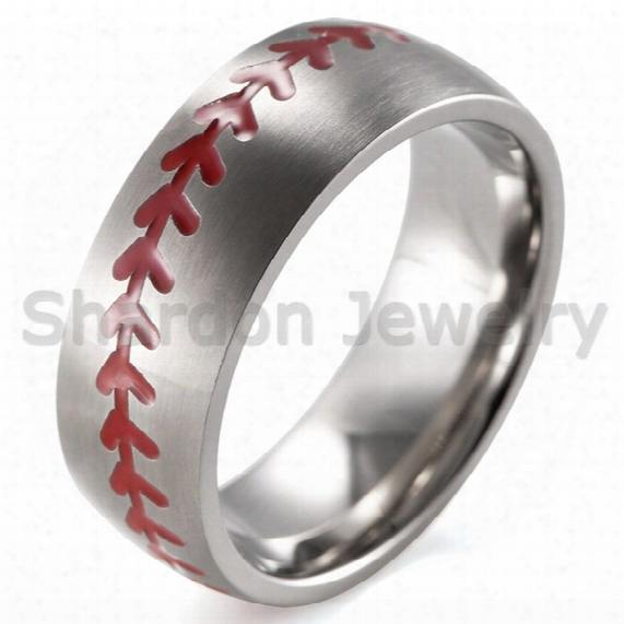 Shardon Men's 8mm Domed Brushed Titanium Ring With Red Engraved Baseball Pattern Size 8-13# As Gift
