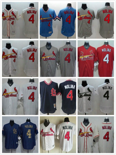 St. Louis Cardinals #4 Yadier Molina Cooperstown Vintage Mlb Baseball Jerseys Flexbase Cool Base Cream Button Pullover White Grey Blue Red