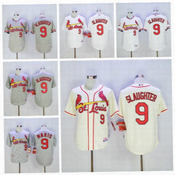 St. Louis Cardinals 9 Roger Maris Jersey Baseball Enos Slaughter Jerseys 1967 Cooperstown Flexbase Cool Base Pullover White Grey Blue Red