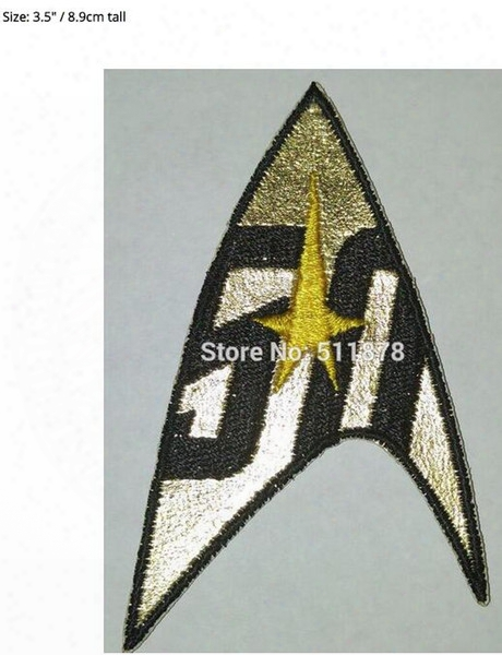 Star Tre Command Insignia 50 Years Gold-yellow Patch Movie Tv Series Costume Cosplay Embroidered Emblem Baseball Cap Badge