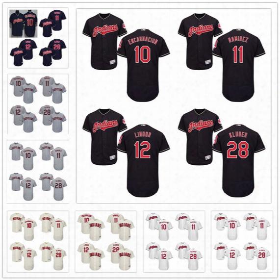 Stitched Mens Cleveland Indians Jersey #10 Edwin Encarnacion 11 Jose Ramirez 12 Francisco Lindor 28 Corey Kluber Gray White Navy Cream Red