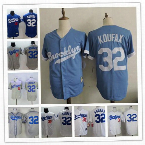 Stitched Mens Los Angeles Brooklyn Dodgers #32 Sandy Koufax Baby Blue Cooperstown Collection White 1955 Throwback Gray Cream Wool Jerseys
