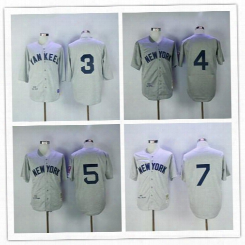 Stitched New York Yankees #3 Babe Ruth 7 Mickey Mantle 5 Joe Dimaggio 4 Lou Gehrig Hemp Gray White Flannel Cooperstown Throwback Jerseys