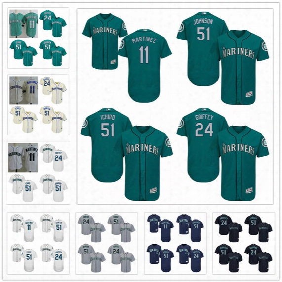 Stitched Seattle Mariners Retired Jersey #11 Edgar Martinez 24 Ken Griffey Jr. 51 Randy Johnson Ichiro Suzuki Gray White Navy Blue Green