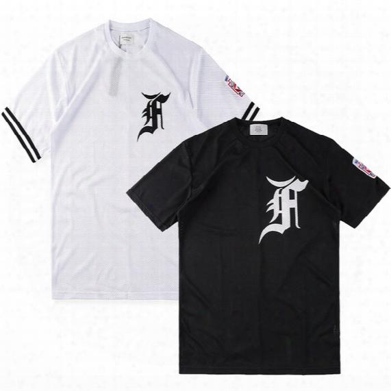 Summer Fashion Justin Bieber Fear Of God Fog Hip Hop Cool Mesh Jersey Sport Tee T-shirt Men Women Baseball Short Sleeve Tshirt With Rib