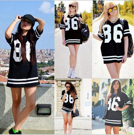 Summer New Women Tshirt Dress Short Sleeve Crew Neck Side Split Mini Dress Hip Hop Fashion Baseball Sport Number Print Jersey Dress