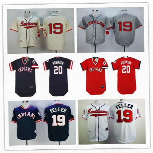 Throwback 20 Frank Robinson Jersey Cleveland Indians 19 Bob Feller Retro Navy Blue Red Vintage Baseball Jerseys Cheap From China