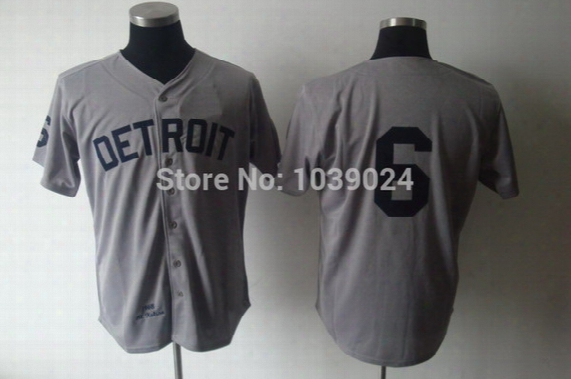 Throwback 6 Al Kaline Jersey Gray Men's Detroit Tigers Jersey Top Quality Kaline Baseball Jersey Grey Wholesale