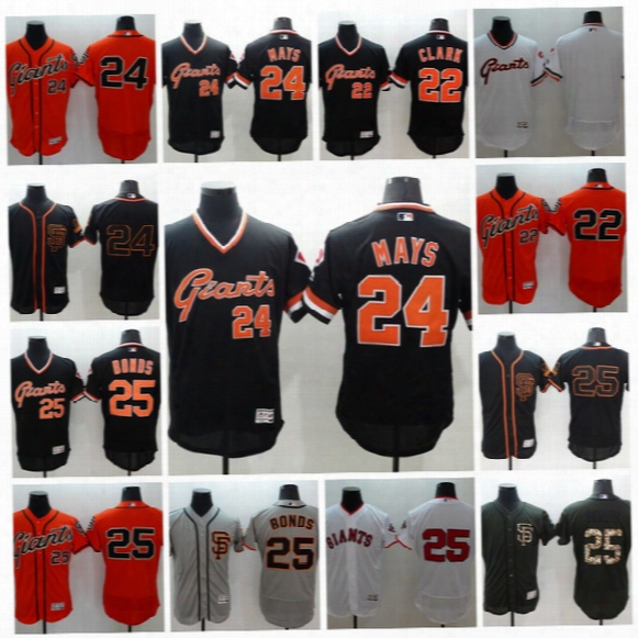 Throwback Basebal L Jerseys #25 Barry Bonds #24 Willie Mays #22 Clark Men All Stitched Embroidery Flexbase San Francisco Giants Jersey