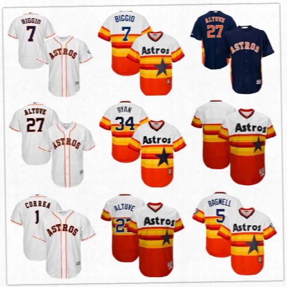 Throwback Baseball Jerseys Houston Astros 7 Craig Biggio 27 Jose Altuve 34 Nolan Ryan Jersey Cheap Custom Ajy Mens Women Youth Jerseys