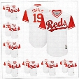 Custom Cincinnati Reds Nickname Jersey #19 Tokki 2 Coach #4 Ryan #6 Bone #23 Duvy Rocko Nicolle White 2017 Little League World Series