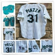 Mens Florida Marlins #8 Andre Dawson Teal Green 1995 Mesh BP Vintage #31 Mike Piazza 1998 throwback white pinstripe Cooperstown Jersey S-3XL