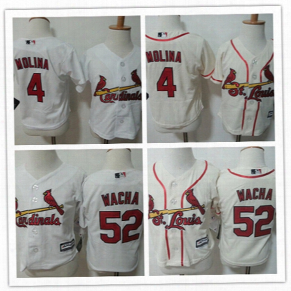 Toddler St. Louis Cardinals Yadier Molina White Home Cool Base Jersey Stitched Preschool #52 Michael Wacha Cardinals Baby Jersey 2t-4t