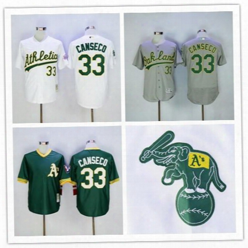 Top Quality #33 Jose Canseco Oakland Athletics Throwback Baseball Jerseys Green Grey White Yellow Gold Pull Down Wholesa Free Shipping S-6xl