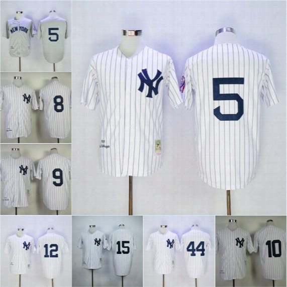 Top Quality Men's New York Yankees Throwback Baseball Jerseys #5 Joe Diimaggio Grey White Pinstripe Size:s-3xl