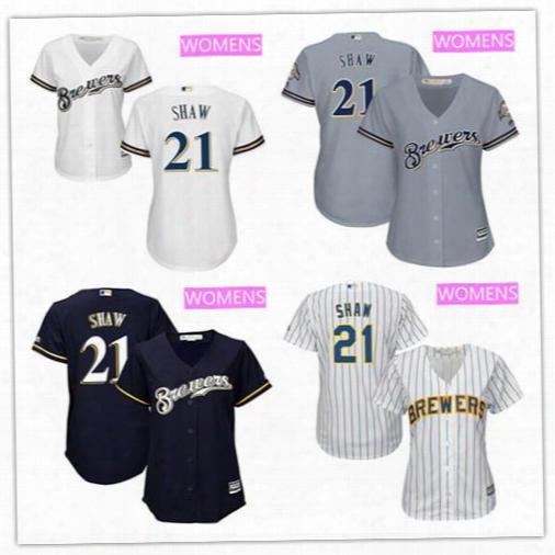 Top Quality Travis Shaw Baseball Jerseys Women's Milwaukee Brewers #21 Travis Shaw All White Stitchedd Mlb Majestic Cool Base Jersey