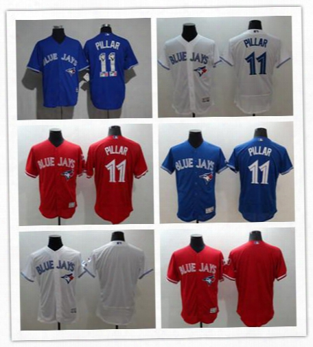 Top Toronto Blue Jays 11 Kevin Pillar Blue 2017 Spring Training Majestic Home White Red Flex Base Men's Baseball Shirt Jersey Size M-3xl