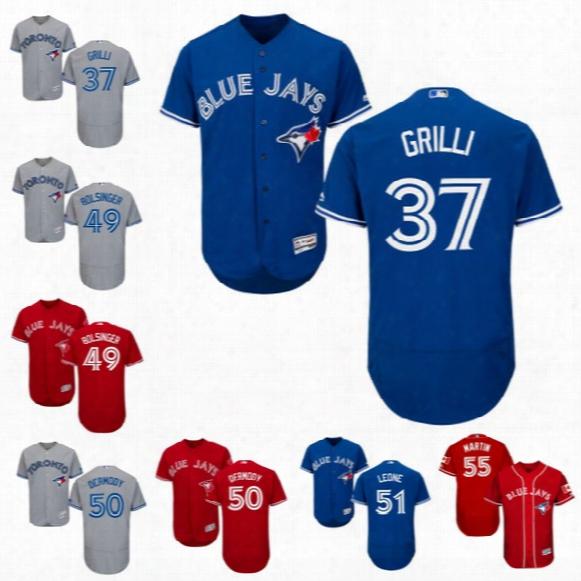 Toronto Blue Jays Jersey 37 Jason Grilli 41 Aaron Sanchez 45 Francisco Liriano 49 Mike Bolsinger 50 Matt Dermody Custom Baseball Jerseys