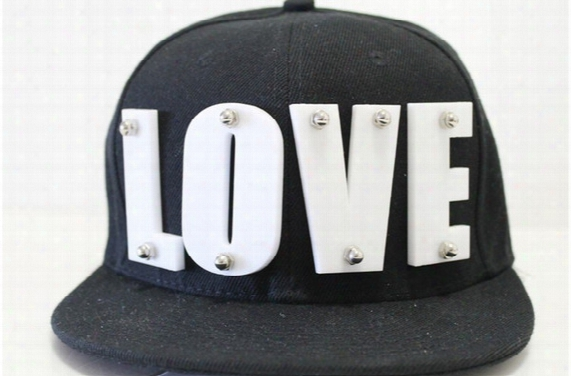 Unisex Acrylic Letter Hat Black Love Snapback Baseball Caps Adjustable Hiphop Hats Candy Color Spike Studs Cap Punk Style Headwear
