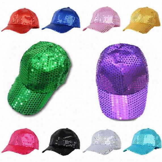 Unisex Sequin Baseball Snapback Hat Sequined Glitter Street Hip-hop Visors Caps