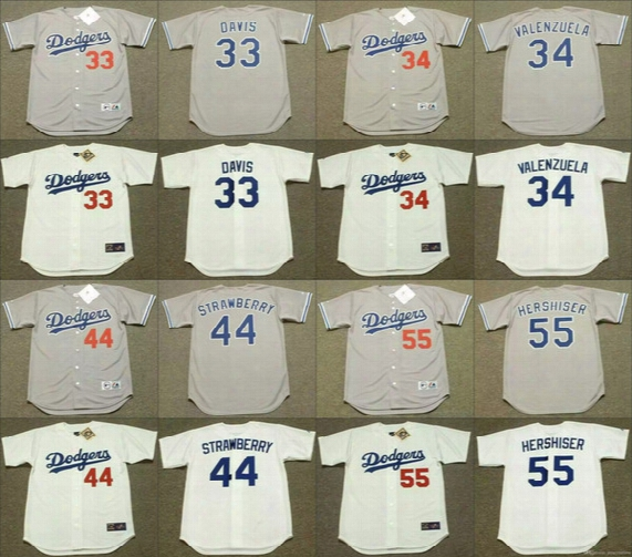 Vintage Los Angeles Dodgers Baseball 33 Eric Davis 34 Fernando Valenzuela 44 Darryl Strawberry 55 Orel Hershiser Jerseys 1988 Throwback