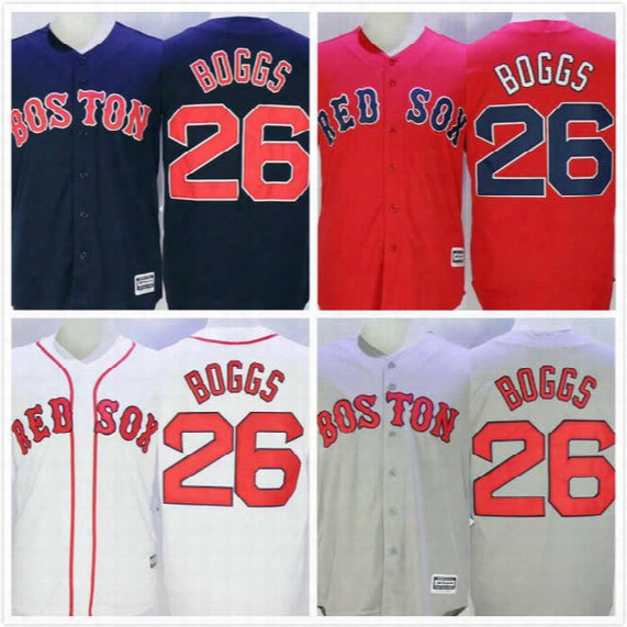 Wade Boggs Jersey 26 Mens Red Sox Jersey Cheap Baseball Throwback Full Stitched Embroidery Logo Red White Grey Size S-3xl Free Shipping