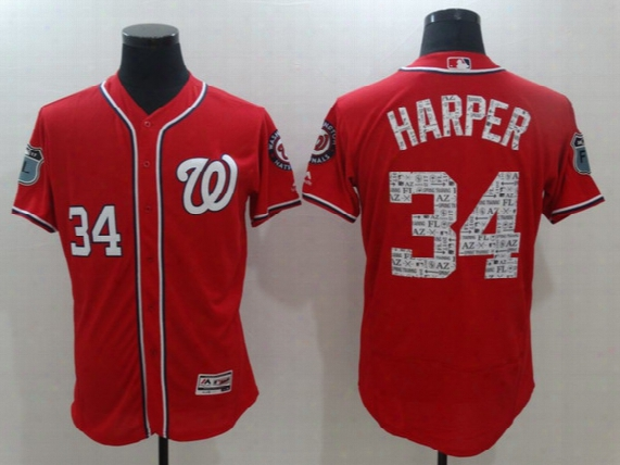 Washington Nationals Jersey 2017 Spring Training 34 Bryce Harper I N Stock Flex Base On-field Baseball Team Jerseys